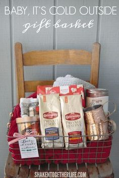 A Baby It's Cold Outside Gift Basket is perfect for sending warm wishes and lots of cozy ways to snuggle up this holiday season! Add the free printable gift tag for an easy, personal touch, too! Coffee Gift Baskets, Fall Gift Baskets, Themed Gift Baskets, Raffle Baskets, Coffee Gifts, Fundraiser Baskets, Wish Gifts, Free Printable Gift Tags, Fall Gifts