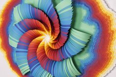 Whirl    (detail), 2014,   acid-free colored paper, glue, wood, paint,   41 x 31 x 4 in.