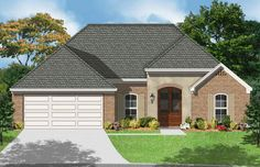 1470 square foot house plan with 3 Bedrooms, 2 Baths, Split Bedroom Plan, Double Raised Ceiling in Master, Oversized den w/ 10' Ceilings, Covered Front and Rear Porches, French Country Styling, Separate Utility and Storage, Separate Shower & Tub in Master. Nice home design.