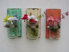 wall sconce shabby chic rustic wooden vases mason jar wood vase wall decor cottage decor - set of THREE