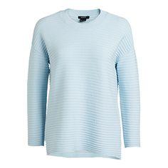 Ribbstickad tröja Blå