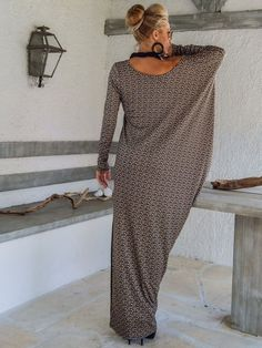 Fall Winter Knitted Asymmetric Maxi Dress Kaftan by SynthiaCouture