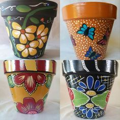 Beautiful hand painted flower pots by brilliantexpressions https://www.etsy.com/listing/240969979/painted-flower-pot-clay-pot-floral?utm_source=Twitter #homedecor #giftideas #pottery