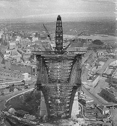 View from pulley-wheels of north side creeper-crane (jibbed right out) looking into box section of south side arch, Sydney Harbour Bridge, Australia, May 1930 / Ted Hood (hanging upside down 130 metres - 420 feet - above the Harbour) Harbor Bridge, Sydney Harbour Bridge, Sydney Australia, Australia Travel, Old Pictures, Old Photos, Brisbane, Melbourne, Bridge Construction