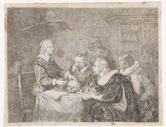David van der Kellen (III) | Anatomische les, David van der Kellen (III), 1837 - 1885 | In een studeerkamer geeft een geleerde anatomische les aan zijn leerlingen. De leermeester staat voor de tafel, waaraan zijn vier studenten zitten, en legt iets uit over de schedel die hij onder zijn linkerhand houdt. Een van de leerlingen maakt met een schrijfveer aantekeningen. Zowel de leermeester als de pupillen zijn gehuld in zeventiende-eeuwse kleding. Op de achtergrond staat een boekenkast en op de…