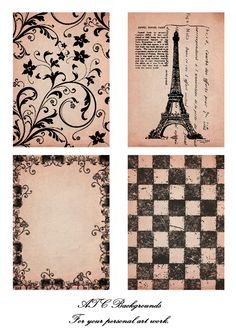 Free Printable French ATC backgrounds