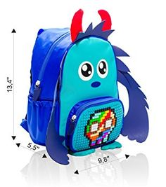 Amazon.com   EPIC KIDS Backpack Blue Monster with Customizable Pixel Art Front Pocket - DIY Elementary School Backpack that Can Be Used for Preschool, Kindergarten, Afterschool, Weekend Trips and Family Picnics   Kids' Backpacks