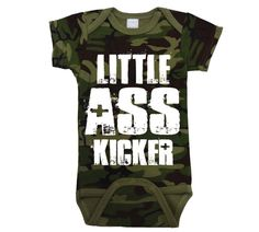 LITTLE A** Kicker - funny zombie army mature camouflage hunter maternity father's day boy Infant outfit Gift - Baby One-Piece Camo DT0453