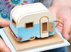 Green or blue vintage caravan paper brooch. £9.00, via Etsy.