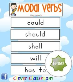 FREE - Modal Verbs Word Wall - PDF file5 page printable resource file designed by Clever Classroom.Revised to now include ideas page and st...
