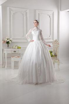 Ball Gown High Collar Satin Organza Court Train Wedding Dress