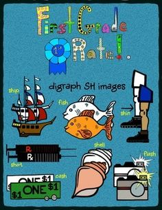 Includes a total of 14 (7 color and 7 black and white) digraph SH clip art images for your personal or commercial use.  Images include SHIP (pirate ship), SHOT (syringe), FISH, CASH (dollar and change), SHELL, SHIN and FLASH (camera).  All clipart images are crisp and high resolution.
