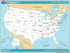 US Map Shows The States Boundary Their Capital Cities Along - Map of us with capitols