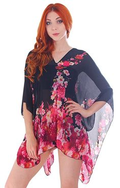 Simplicity Women's Chiffon Sheer Summer Beachwear Cover-Up Caftan Tunic Blouse, Kimono Top, Tunic Tops, Chiffon Material, Sheer Chiffon, Summer Wear, Beachwear, Bell Sleeve Top, Cover Up