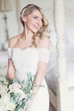Off Shoulder Dress Gown Bride Bridal La Sposa Lace Romantic Metallic Blush Wedding www.craigsandersp...