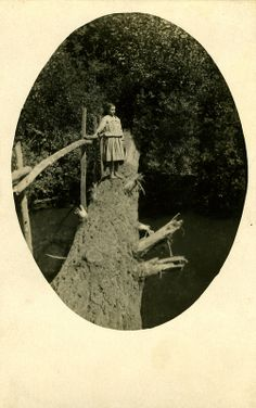 >Girl crossing a log bridge Undated Source: OSU Special Collections & Archives Vintage Photographs, Vintage Photos, West Virginia History, My Old Kentucky Home, Appalachian Mountains, My Heritage, Blue Ridge, Old Photos, Vintage Antiques