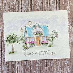 Watercolor Brushes, Watercolor Paper, Watercolor Paintings, Art Impressions Stamps, Wrapping Gifts, Cute House, Rubber Stamping, Art Sketches, Handmade Cards