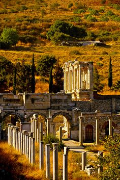 Things to see and things to do in Ephesus ancient city in Turkey. Information and facts about the Ephesus ancient city, history, location. Ancient Buildings, Ancient Architecture, Beautiful Architecture, Beautiful Buildings, Places Around The World, Travel Around The World, Around The Worlds, Ancient Ruins, Ancient Rome