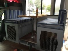 The Blonde (now Brunette!) and the Dizzy Dogs: RV Renovations Continue with the Dinette to Dog Crates!