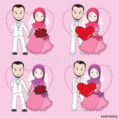 Muslim wedding couple, bride and groom holding each other hand. wedding cartoon vector