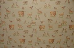 Highland Cattle And Country Animals Wool Effect Upholstery Curtain Fabric