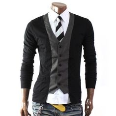 Mens Casual Stylish 2 Tone Slim Cardigan(W03C) Doublju, http://www.amazon.co.uk/dp/B009VRHKZ6/ref=cm_sw_r_pi_dp_OHc4qb1P1N19G