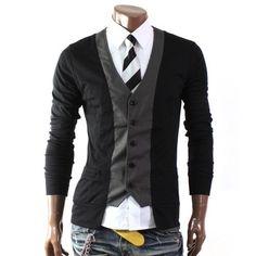 Mens Casual Stylish 2 Tone Slim Cardigan(W03C) Doublju, http://www.amazon.co.uk/dp/B009VRHKZ6/ref=cm_sw_r_pi_dp_OHc4qb1P1N19G