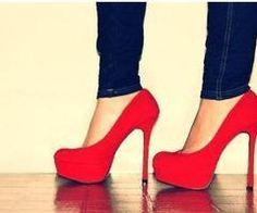 red high heels.