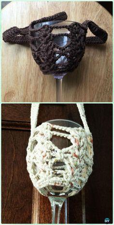 Crochet Firene Wine Glass Lanyard Free Pattern - #Crochet; Wine Glass Lanyard Holder & Cozy Free Patterns