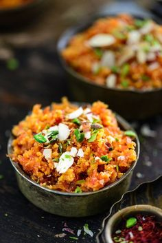 Gajar Ka Halwa is one dish where the sweetness of the carrots are allowed to shine. This sweet pudding mainly associated with North India is a rich, creamy dessert made using sugar and full cream milk or condensed milk and khoya. Veg Recipes, Indian Food Recipes, Asian Recipes, Sweet Recipes, Dessert Recipes, Cooking Recipes, Ethnic Recipes, Diwali Recipes, Indian Foods
