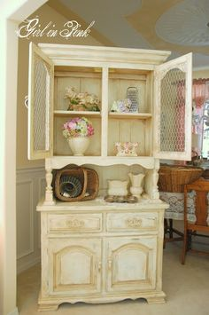 "One Girl In Pink: French Country Cottage Cupboard: ""For this piece, I started with one rough coat of Annie Sloan's Versailles followed by one coat of Old White.  Next, I distressed all of the edges with a fine grit sanding sponge to reveal bits of the green as well as the wood grain."""