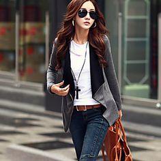 Women's Casual Medium Long Sleeve Regular Jacket (Cotton Blends)