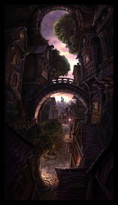Fantasy Town with Architectural Detail #Fantasy #Architecture #Bridges