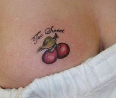 Attractive Fruit Tattoo Designs Cool Fruit Tattoo for Female Breast Weird Tattoos, Sweet Tattoos, Large Tattoos, Hot Tattoos, Star Tattoos, Tribal Tattoos, Tatoos, Fruit Tattoo, Strong Tattoos