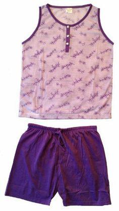Damen Schlafanzug Shorty, romantisches Dessin mit Floral- und Ringeldruck, Oberteil mit Knopfleiste, farblich abgestimmtes Unterteil mit Gummibund und Kordelzug, aus angenehm tragbarer Baumwolle, Farbe Lila, Größen S-3XL Vexcon, http://www.amazon.de/dp/B00BQMLII4/ref=cm_sw_r_pi_dp_GTUstb06EFEWJ