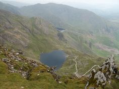 Looking at Low Water from the summit of The Old Man of Coniston