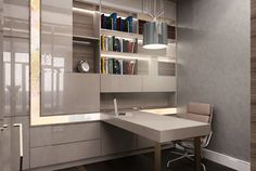 #beige #desk #library #deskchair #books #shelves #green #hanginglamp Concept Architecture, Desk Chair, Corner Desk, Shelves, Beige, Green, Books, Furniture, Home Decor