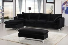 Shop Meridian Furniture Naomi Black Sectional with Ottoman with great price, The Classy Home Furniture has the best selection of Sectionals to choose from Black Sofa Living Room Decor, Living Room Sectional, Living Room Sofa, Dining Room, Black Sectional, Modern Sectional, Sectional Sofas, Meridian Furniture, Home And Living