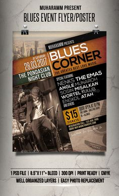 Blues Event #Flyer / Poster - #Events Flyers Download here: https://graphicriver.net/item/blues-event-flyer-poster/19575428?ref=alena994