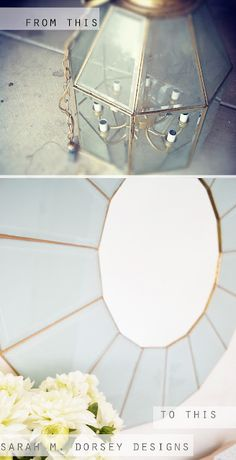 Awesome mirror made from an old light fixture.