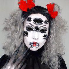 Black widow spider makeup horror creepy scary Halloween Arachne costume IG @Thetrashmask