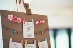 Beautiful Bunting Wedding Table Plan. Kraft paper with bunting and pastel colours, perfect for a vintage themed wedding. Part of the 'BEAUTIFUL BUNTING' collection by Paper Date. Photography: Francesca Hill Photography