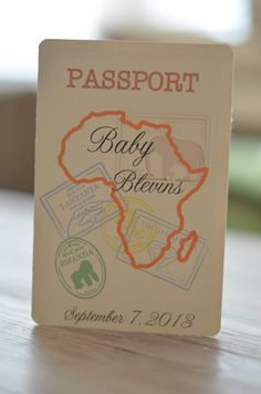These are Passport invitations to a Baby Shower, Bridal Shower or even Birthday with a Safari Theme. The top part of Boy Baby Shower Themes, Baby Shower Activities, Baby Shower Gender Reveal, Baby Shower Parties, Baby Boy Shower, Girl Parties, Shower Games, Passport Invitations, Baby Shower Invitations