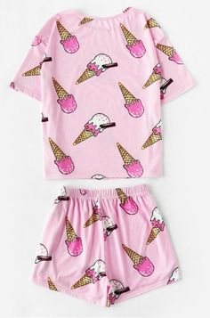 8477c49f3ad2 Pink Ice Cream Printed Short Pajama Set - Women. Cute PajamasComfy ...