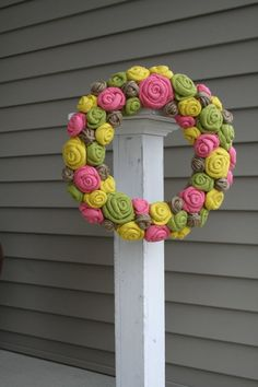 Spring Jute Yarn Wreath/Burlap Flowers/Roses/Yarn by LizzyDesigns, $60.00
