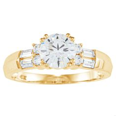 Alyssa Jewels 14k Gold Round/ Baguette Cubic Zirconia Engagement-style Ring (Yellow Gold, Size 5.5), Women's
