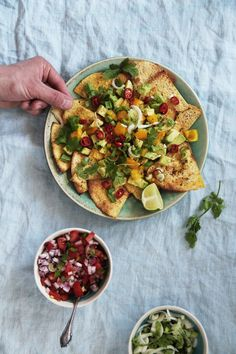 fork and flower: baked tortilla chips laden with pico de gallo