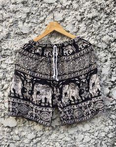 Unisex Shorts Elephants Printed Boho Festival by TribalSpiritShop