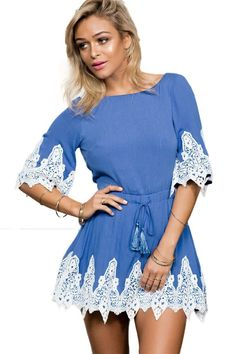 7eee38bdee2 Sky Blue Lace Applique Open Back Skater Dress Skater Style Dress