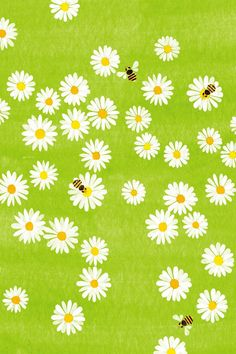 Illustration by Kazuaki Yamauchi. Pretty Patterns, Color Patterns, Alphonse Mucha, Pattern Art, Pattern Design, Bee Illustration, Pushing Daisies, Whatsapp Wallpaper, Cute Bee
